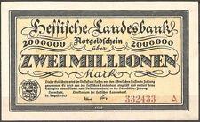 Grossgeldschein Infla Hessische Landesbank 2 Millionen Mark kassenfrisch