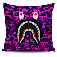 Purple Bape Shark Pillow Case Sofa Cushion Cover
