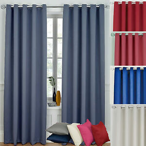 READY MADE PLAIN BLACKOUT CURTAINS RING TOPS - 13 DIFFERENT COLOURS CHEAP P&P