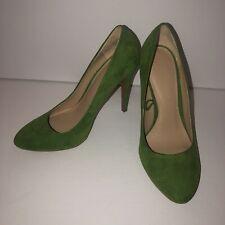 zara trafaluc Heels Pumps Green Seude Size 36 Excellent Shape