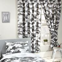 GREY ARMY CAMOUFLAGE LINED CURTAINS KIDS BEDROOM 66in x 54in (168cm x 137cm)
