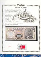 Turkey Banknote 50 Lirasi 1970 UNC P 188 UN FDI FLAG STAMP Birthday 1931
