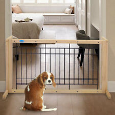 Solid Wood Dog Gate Indoor Baby Safety Barrier Free Standing Ajustable Pet Fence