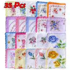 35pcs/Set Lot Ladies Women Vintage Cotton Quadrate Hankies Floral Handkerchief