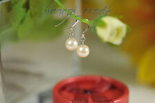 GRADE AAA! Japanese AKOYA Creamy White 8.5mm Perfect Round Pearl Earrings Silver
