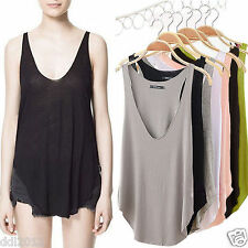Summer Women Lady Sleeveless V-Neck Candy Vest Loose Tank Cami Tops T-shirt