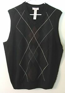Men's Dockers Black V Neck Sweater Vest, 100% Acrylic, M/L/XL/XXL, NWT