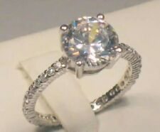 3.25 Ct Round Diamond Solitaire Engagement Ring Eternity band White gold ov