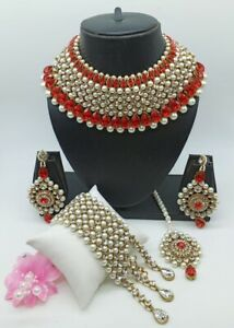 Indian Bollywood Gold Plated Kundan Pearl Necklace Earrings Tikka Bridal Jewelry