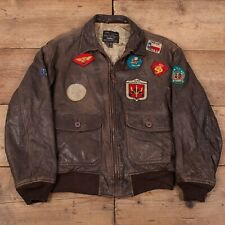 "Mens Vintage Avirex Top Gun G-1 Patched Leather Flight Jacket S 36"" R16899"