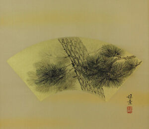 JAPANESE PAINTING HANGING SCROLL FROM JAPAN Fan Gold PINE VINTAGE ART 182p