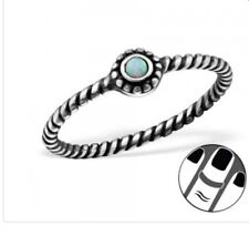 Sterling Silver 925 Oxidised Midi Ring With Moon Azure Colour Stone