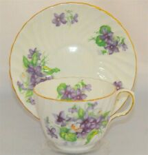 Aynsley Tea Cup & Saucer Swirl Design with Purple & White Violets Floral