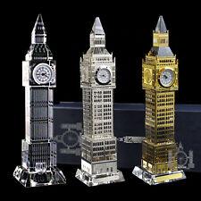 More details for 3 x metal plated crystal glass london big ben clocks (large) souvenir gift
