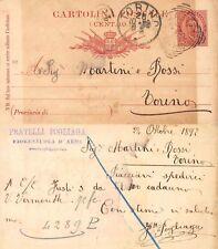 CP 10 cent. 1892 VG  Fiorenzuola d'Arda- Martini Rossi Vermouth Torino (R-L 177)