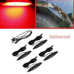 Kind Car Fender Flares Wheel Eyebrow Protector Red Lamp LED Ambient Light 4PCS
