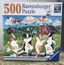 500 Piece Ravensburger Jigsaw Puzzle Chocolate Milkshake Cows COMPLETE