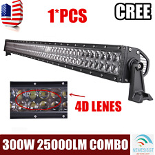 52''INCH 300W CREE LED Work Light Bar Flood Spot Driving Offroad 4WD 4D Optical
