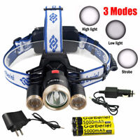 Tactical 350000LM Headlamp 3 x T6 LED Headlight 18650 FlashLight Charger Battery