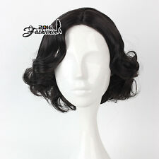 Black 40CM Curly Short Cosplay Women Grils Synthetic Anime Party Wig + Wig Cap