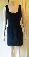 GUESS VINTAGE 1980 Little Black Dress VELVET Fully Lined Cotton Evening Clubwear