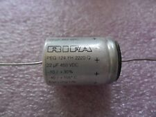 Rifa PEG124YH2220Q  22UF 450VDC Long Life Elec cap axial 105°C 20x29mm LOW ESR
