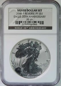2006 P 20th Anniversary Reverse Proof American Silver Eagle NGC Graded PF69