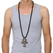 Punk Men Man Wood Beaded Ancient Egypt Key of Life Ankh Cross Party Jewelry Gift