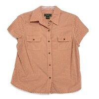 Eddie Bauer Shirt Womens Size L Large Orange Checked Short Sleeve Button Front