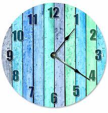 "BLUE GREEN WOOD Boards Clock - Large 10.5"" Wall Clock - 2180"