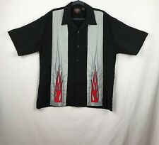 Dragonfly Men's Sz Lg Button Shirt Roadhouse Motorcycle Black Gray Red Flames