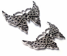 2 x Large Chunky Butterfly Charms Pendants, 56mm Silver Plated, jewellery, craft
