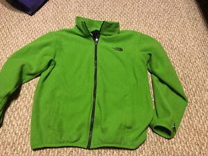 Youth Large The North Face Fleece Zip Up Jacket Green Color