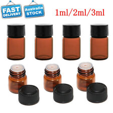 18PCS Small Amber Glass Aromatherapy Essential Oil Vial Bottles with Orifice Cap