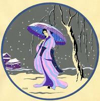 1930s French Pochoir Print Edouard Halouze Japanese Geisha Pink Dress Umbrella