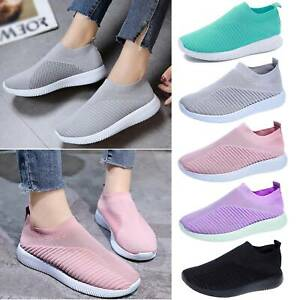 Womens Slip On Trainers Sneakers Sports Running Gym Pumps Breathable Sock Shoes