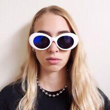 White Reflective Sunglasses Oval Clout Goggles Rapper Kurt Cobain Festival