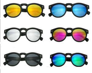 Leonard Round Vintage Mirrored Sunglasses Black Frame