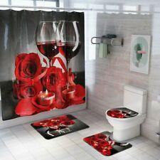 New ListingRose Wine Heart Bathroom Waterproof Shower Curtain Toilet Lid Cover Bath Mat Set
