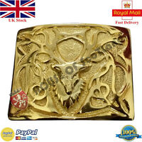 Men's Scottish Kilt Belt Buckle Stag Head Gold Plated Highland Belts & Buckles