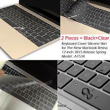 "Thin Clear Silicone Keyboard Cover Skin Protector for NEW Macbook 12"" Mac 12inch"