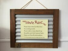 House Rules Tin Country Timber Framed Print