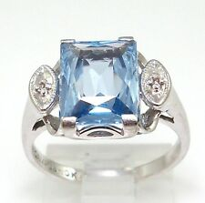 Solid 10K White Gold 3.0ct Blue Topaz Emerald Cut Diamont Accent Ring Size 5.75