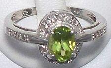 NEW genuine green peridot ring,1.00 ctw, 6- .05 pt. diamond10K white gold 2.5 gr