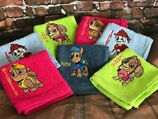 Personalised Embroidered Paw Patrol Cotton Hand / Bath Towel / Facecloth Gift