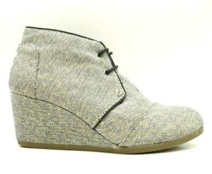 Toms Multi-Color Gold Shimmer Canvas Lace Up Wedge Ankle Boots Women's 9.5