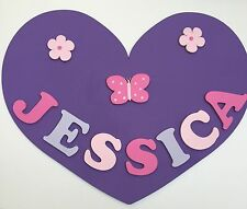 Personalised Wooden Name Plate Children Door or Wall Sign Purple Heart