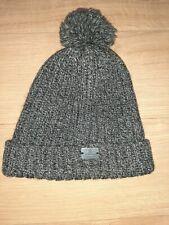 Barbour Bobble Sombrero 100% Lana Sombrero de Invierno de punto gris muy buen estado limpio