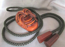 SOUTH PACIFIC STYLE ISLAND MASK WITH INSIDE MARKINGS BROWN BRAID BOLO TIE