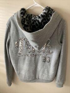 PINK Victoria's Secret Gray SM Faux Fur Lined Hood Full Zip Hoodie Sweatshirt